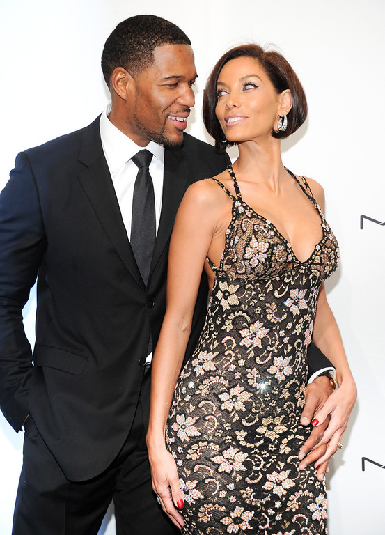 . Television personality Michael Strahan and girlfriend Nicole Murphy attend amfAR\'s New York gala at Cipriani Wall Street on Wednesday, Feb. 6, 2013 in New York. (Photo by Evan Agostini/Invision/AP)