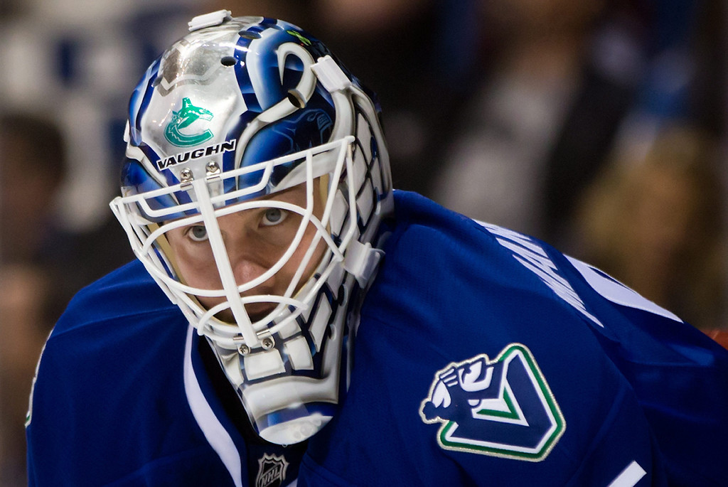 . Vancouver Canucks goalie Jacob Markstrom, of Sweden, watches play during the first period of an NHL hockey game against the Colorado Avalanche on Thursday, April 10, 2014, in Vancouver, British Columbia. (AP Photo/The Canadian Press, Darryl Dyck)