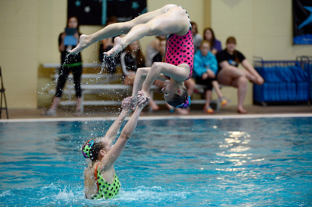 . THORNTON, CO. - MARCH 10: Minnesota Synchronettes perform during the team free at The Rocky Mountain Synchronized Swimming North Zones Championships  March 10, 2013 at Veterans Memorial Aquatic Center. (Photo By John Leyba/The Denver Post)