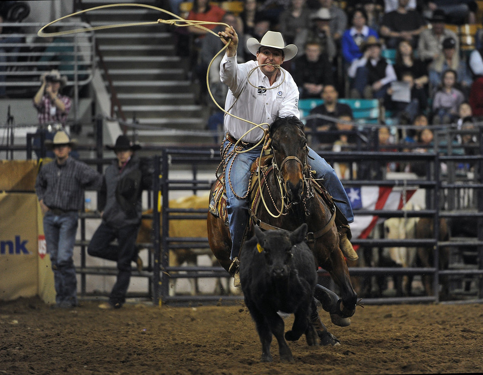 . DENVER, CO- JANUARY 27:   Jerome Schneeberger, of Ponca City, California ropes a calf during the tie down roping event in the rodeo. The final day of the 2013 National Western Stock show was Sunday, January 27th.  One of the big events for the day was the PRCA Pro Rodeo finals in the Coliseum.  The event featured bareback riding, steer wrestling, team roping, saddle bronc riding, tie down roping, barrel racing and bull riding.  (Photo By Helen H. Richardson/ The Denver Post)