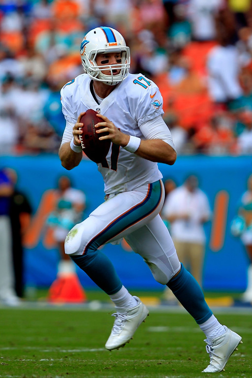 . Ryan Tannehill #17 of the Miami Dolphins looks to pass the ball during the game against the Buffalo Bills at Sun Life Stadium on October 20, 2013 in Miami Gardens, Florida.  (Photo by Chris Trotman/Getty Images)