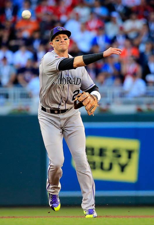 . National League All-Star Troy Tulowitzki #2 of the Colorado Rockies throws to first base against the American League All-Stars during the 85th MLB All-Star Game at Target Field on July 15, 2014 in Minneapolis, Minnesota.  (Photo by Rob Carr/Getty Images)