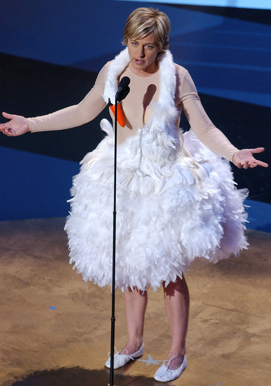 . US actress Ellen DeGeneres comes on stage dressed in the swan costume Icelandic singer Bjork wore to the Oscars last year, at the 53rd Emmy Awards at the Shubert Theatre, in Los Angeles, 04 November, 2001.  The Awards went ahead after twice being rescheduled due to the 11 September 2001 terrorist attacks and the ongoing US bombing of Afghanistan.    LUCY NICHOLSON/AFP/Getty Images