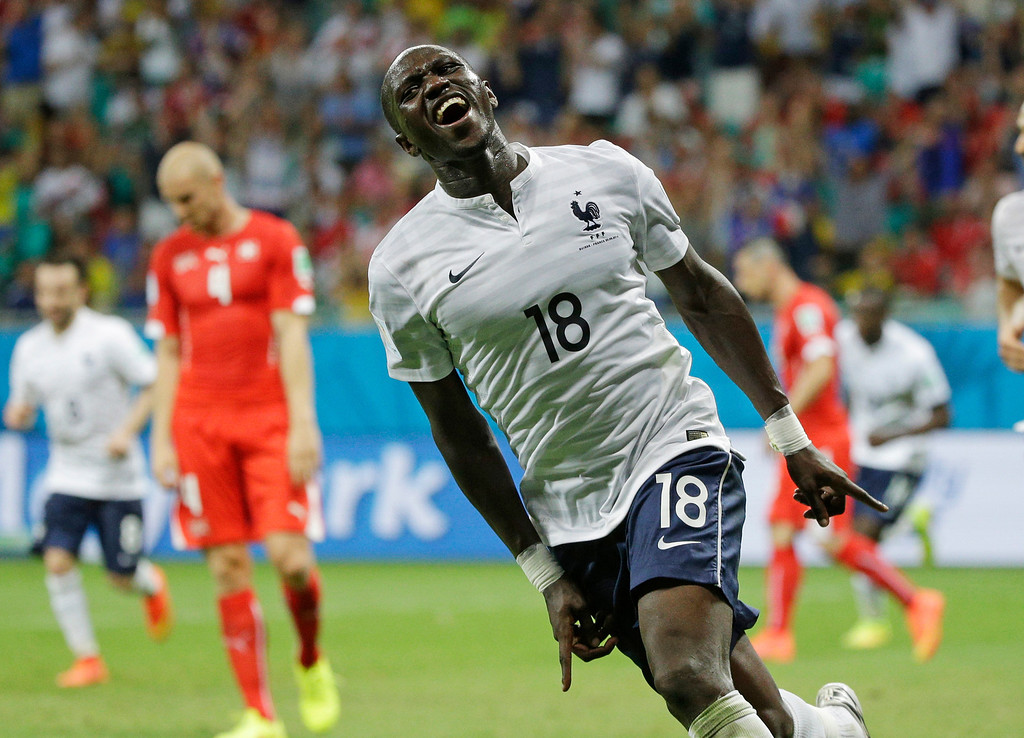. France\'s Moussa Sissoko celebrates after scoring his side\'s fifth goal during the group E World Cup soccer match between Switzerland and France at the Arena Fonte Nova in Salvador, Brazil, Friday, June 20, 2014. (AP Photo/Christophe Ena)