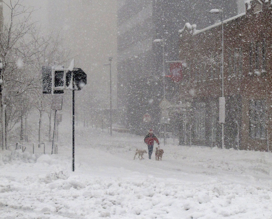 . A man walks his dogs down the middle of a deserted street in the middle of a blizzard on Thursday, Dec. 20, 2012, in Madison, Wis. Many businesses and most city, state and county government offices were closed as the blizzard dumped about a foot of wet, heavy snow on the area. (AP Photo/Scott Bauer)