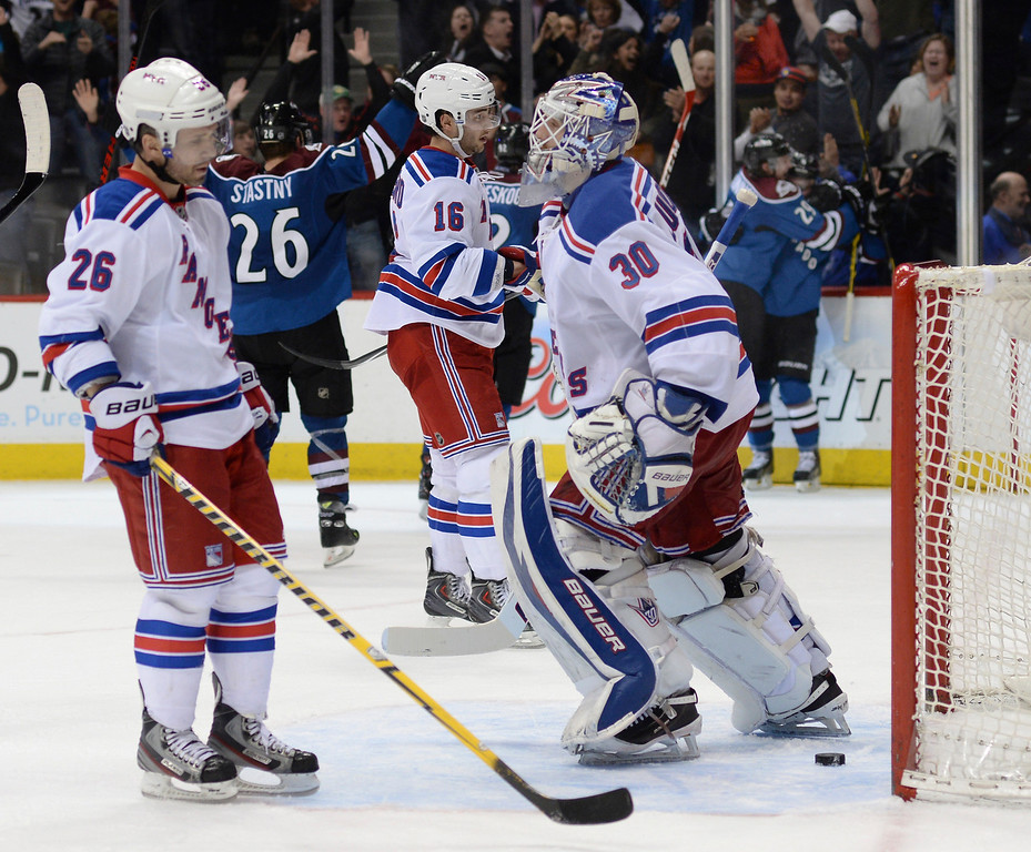 . The New York Rangers gave up a goal in the final minute of the third period. New York goalie Henrik Lundqvist was screened and Tyson Barrie beat him on his glove side.  (Photo by Karl Gehring/The Denver Post)