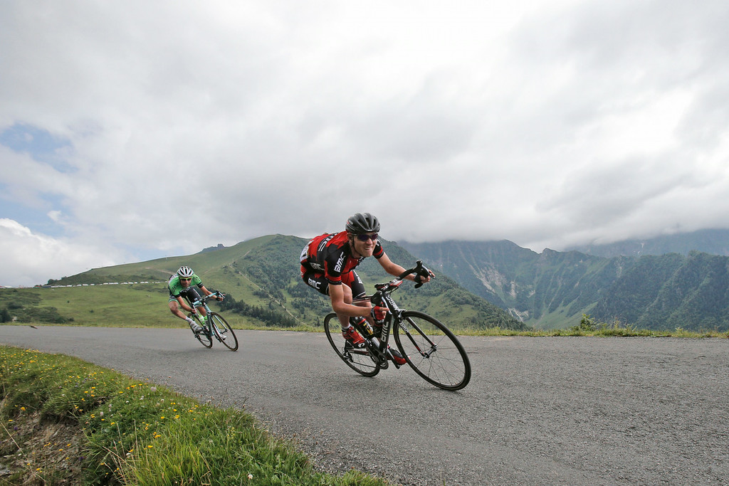 . Tejay van Garderen of the U.S., right, and Netherlands\' Laurens ten Dam, left, speed down Val Louron Azet pass during the seventeenth stage of the Tour de France cycling race over 124.5 kilometers (77.4 miles) with start in Saint-Gaudens and finish in Saint-Lary, France, Wednesday, July 23, 2014. (AP Photo/Christophe Ena)