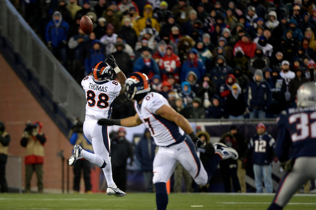 . Wide receiver Demaryius Thomas #88 of the Denver Broncos missing a pass in the second half vs the New England Patriots at Gillette Stadium in Foxborough MA, November 24, 2013 Denver. (Photo By Joe Amon/The Denver Post)