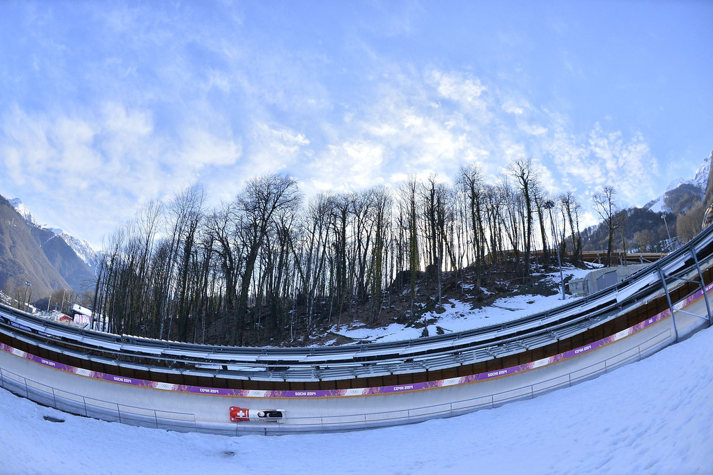 . Switzerland-1,  two-woman bobsleigh steered by Fabienne Meyer takes a practice run during a training session at the Sanki Sliding Center in Rosa Khutor during the Sochi Winter Olympics on February 15, 2014. LIONEL BONAVENTURE/AFP/Getty Images