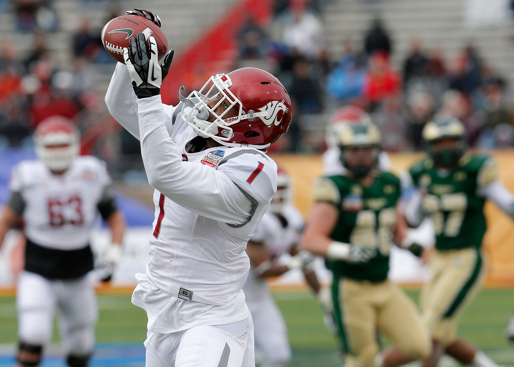 . Washington State wide receiver Vince Mayle (1) pulls in a touchdown pass against Colorado State during the first half of the New Mexico Bowl NCAA college football game, Saturday, Dec. 21, 2013, in Albuquerque, N.M. (AP Photo/Matt York)