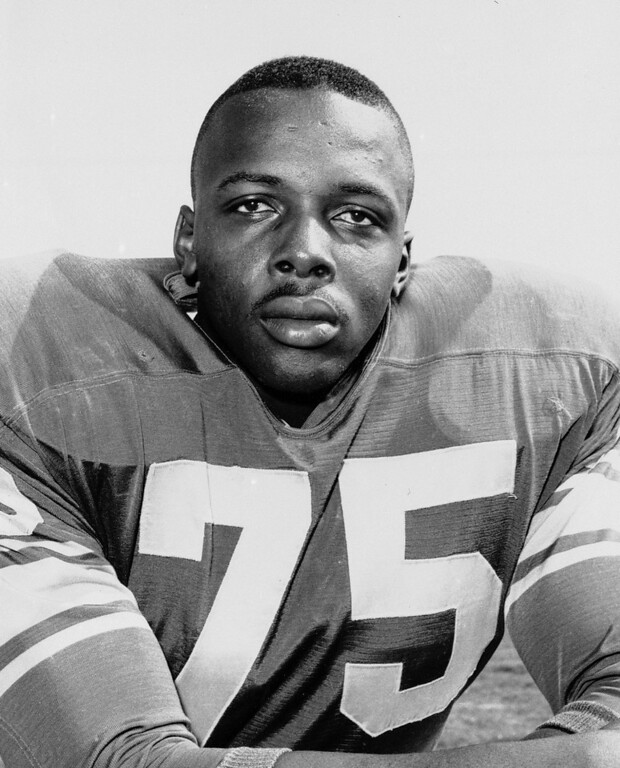 . This 1963 file photo shows David Deacon Jones. Jones, a Hall of Fame American football defensive end credited with terming the word sack for how he knocked down quarterbacks.  (AP Photo/File)