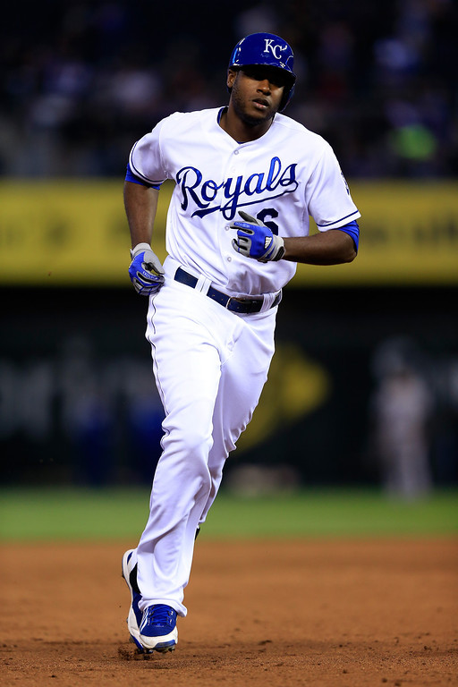 . Lorenzo Cain #6 of the Kansas City Royals rounds the bases after hitting a home run during the game against the Colorado Rockies at Kauffman Stadium on May 13, 2014 in Kansas City, Missouri.  (Photo by Jamie Squire/Getty Images)