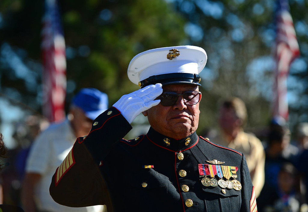 """. Pedro Galan, a former gunnery sergeant with the Marines and who fought in Vietnam and Korea, salutes during the singing of God Bless America at the 36th annual Remembrance ceremony of Veteran\'s Day at Fort Logan Cemetery in Lakewood, CO  on November 11, 2013. The day was marked with a 21 gun rifle salute, \""""Echo taps\"""" played by buglers and the release of white birds of freedom.  The benediction was given by Jackie Newlander.  (Photo By Helen H. Richardson/ The Denver Post)"""