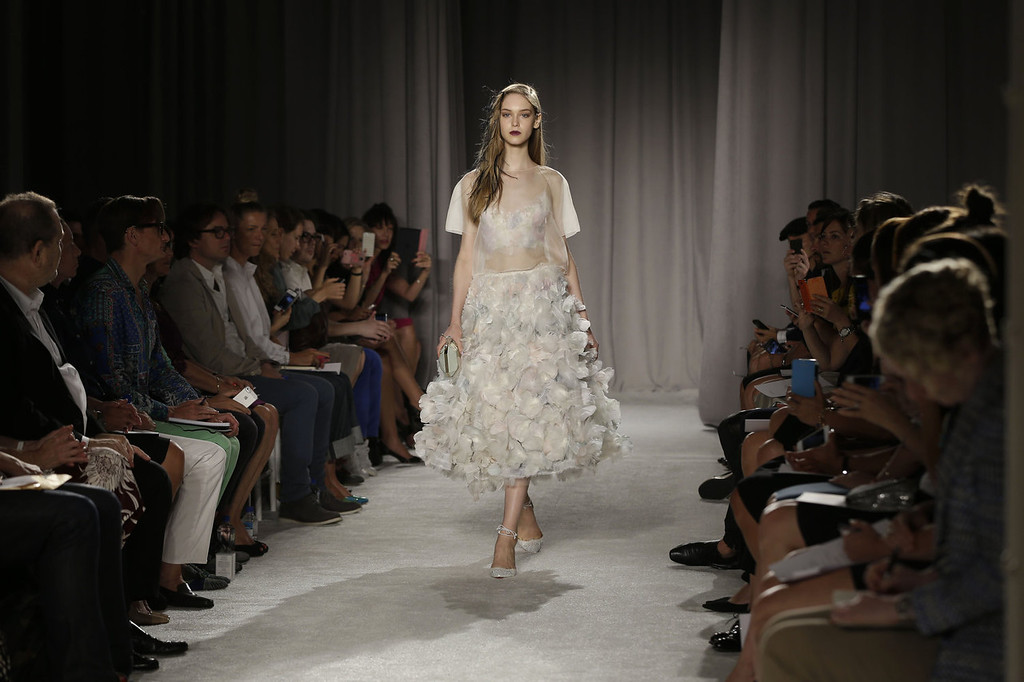 . The Marchesa Spring 2014 collection is modeled during Fashion Week in New York, Wednesday, Sept. 11, 2013. (AP Photo/Seth Wenig)