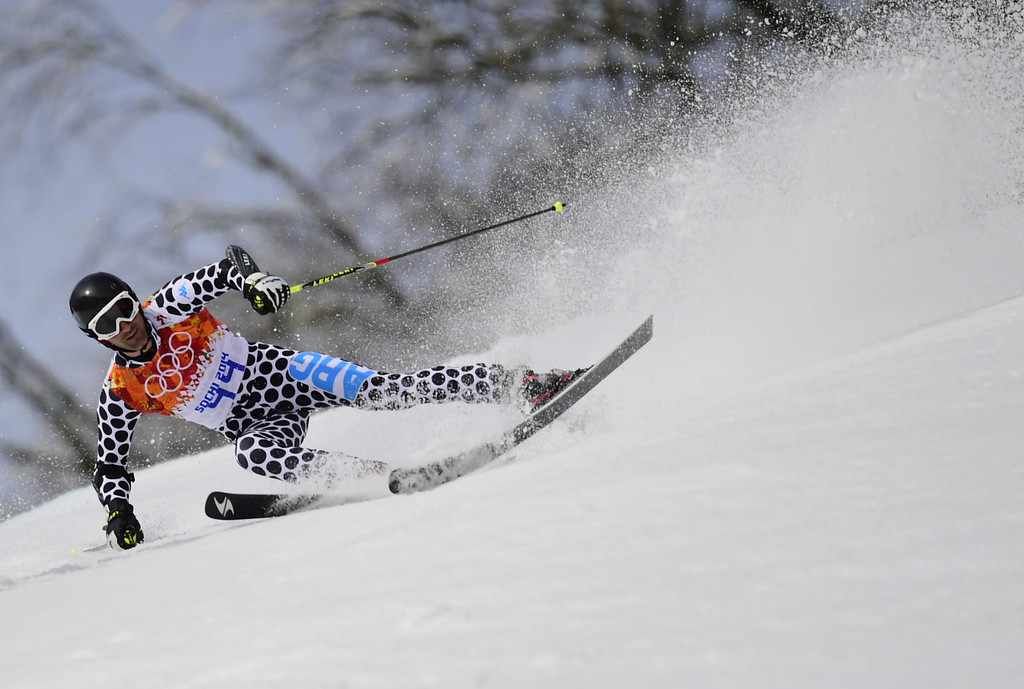 . Argentina\'s Cristian Javier Simari Birkner competes during the Men\'s Alpine Skiing Giant Slalom Run 1 at the Rosa Khutor Alpine Center during the Sochi Winter Olympics on February 19, 2014.  AFP PHOTO /  FABRICE COFFRINI /AFP/Getty Images
