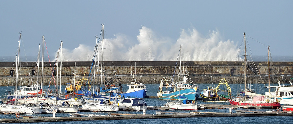 . Strong winds cause the waves to hit the breakwater at Holyhead on the Island of Anglesey in Wales on January 7, 2014.   PAUL ELLIS/AFP/Getty Images