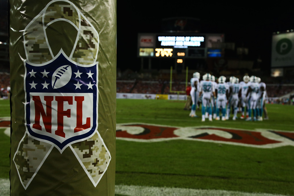 . TAMPA, FL - NOVEMBER 11:  An NFL logo for Veterans Day is displayed during the game between the Tampa Bay Buccaneers and the Miami Dolphins at Raymond James Stadium on November 11, 2013 in Tampa, Florida.  (Photo by Mike Ehrmann/Getty Images)