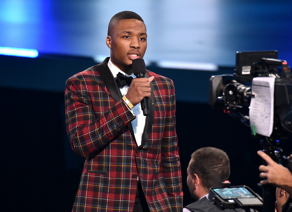 . Damian Lillard performs on stage at the ESPY Awards at the Nokia Theatre on Wednesday, July 16, 2014, in Los Angeles. (Photo by John Shearer/Invision/AP)