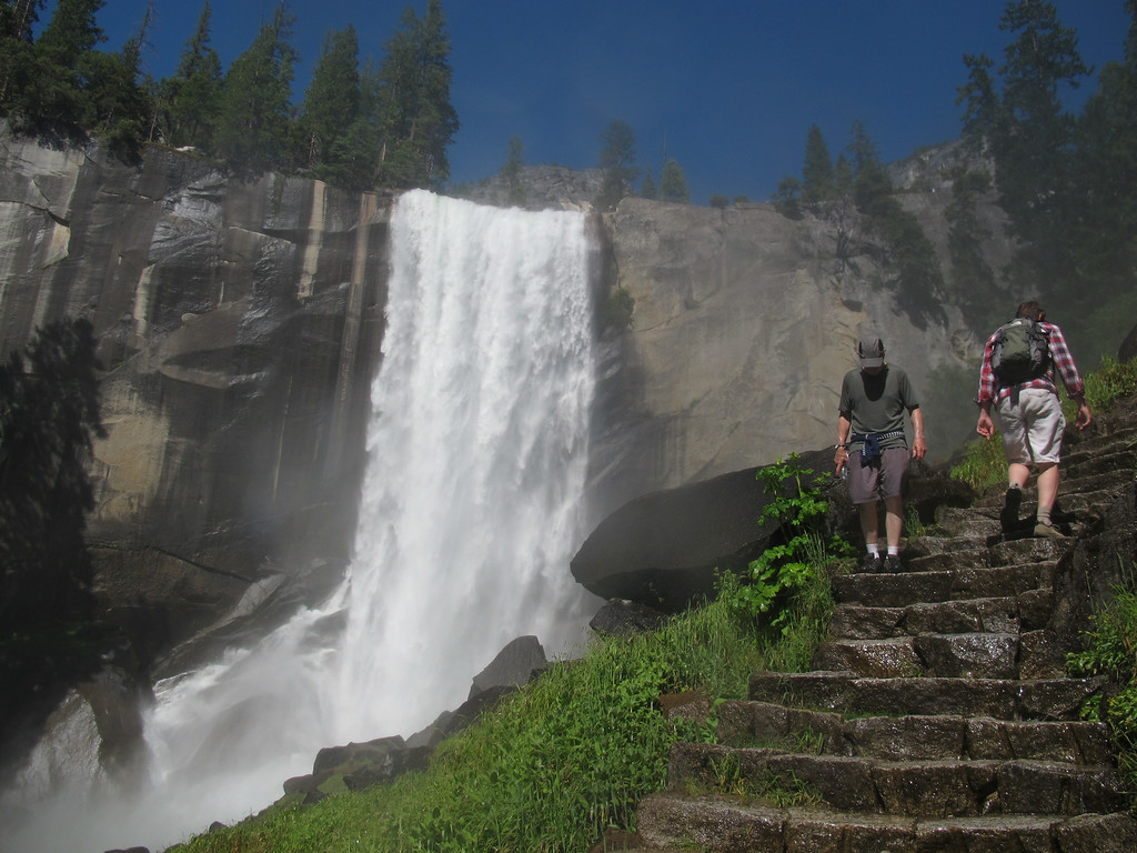 . In this July 20, 2011 photo, Hikers walk on the Mist Trail to Vernal Fall in Yosemite, Calif.  (AP Photo/Gosia Wozniacka)
