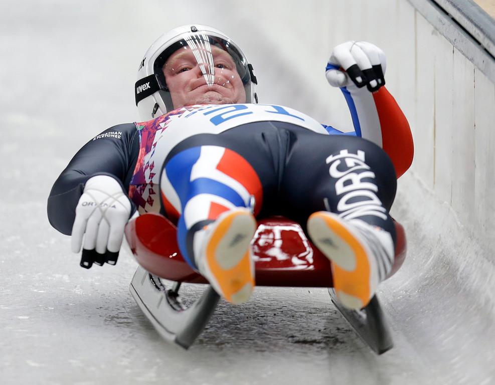 . Jo Alexander Koppang of Norway starts his run during the men\'s singles luge competition at the 2014 Winter Olympics, Saturday, Feb. 8, 2014, in Krasnaya Polyana, Russia. (AP Photo/Natacha Pisarenko)