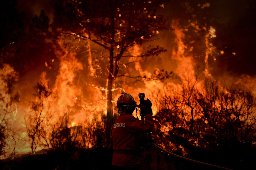 . A firefighter tries to putout a wildfire in Caramulo, central Portugal on August 29, 2013. Five Portuguese mountain villages were evacuated overnight as forest fires intensified in the country\'s north and centre, officials said today. As many as 1,400 firefighters were dispatched Thursday to tackle the blaze in the mountains and another raging further north in the national park of Alvao, where 2,000 hectares (4,900 acres) of pine forest have already been destroyed, according to the local mayor.   PATRICIA DE MELO MOREIRA/AFP/Getty Images