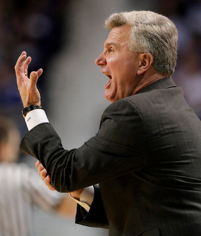 . Kansas State coach Bruce Webber reacts to a call during the second half of an NCAA college basketball game against Kansas on Tuesday, Jan. 22, 2013, in Manhattan, Kan. Kansas won 59-55. (AP Photo/Charlie Riedel)