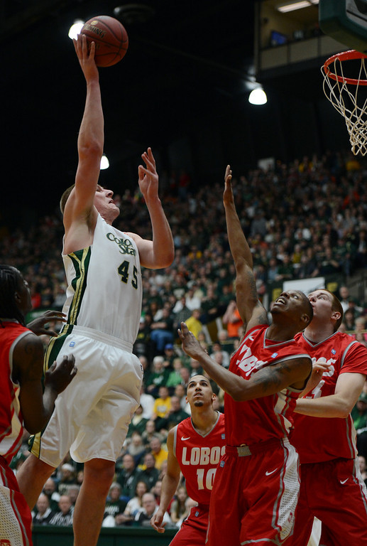 . Fort COLLINS, CO. - FEBRUARY 23: Colorado State Colton Iverson drives to the basket during first half action at Moby Arena in Fort Collin, CO February  24, 2013. The Colorado State Rams lost to the New Mexico Lobos 91-82. (Photo By Craig F. Walker/The Denver Post)