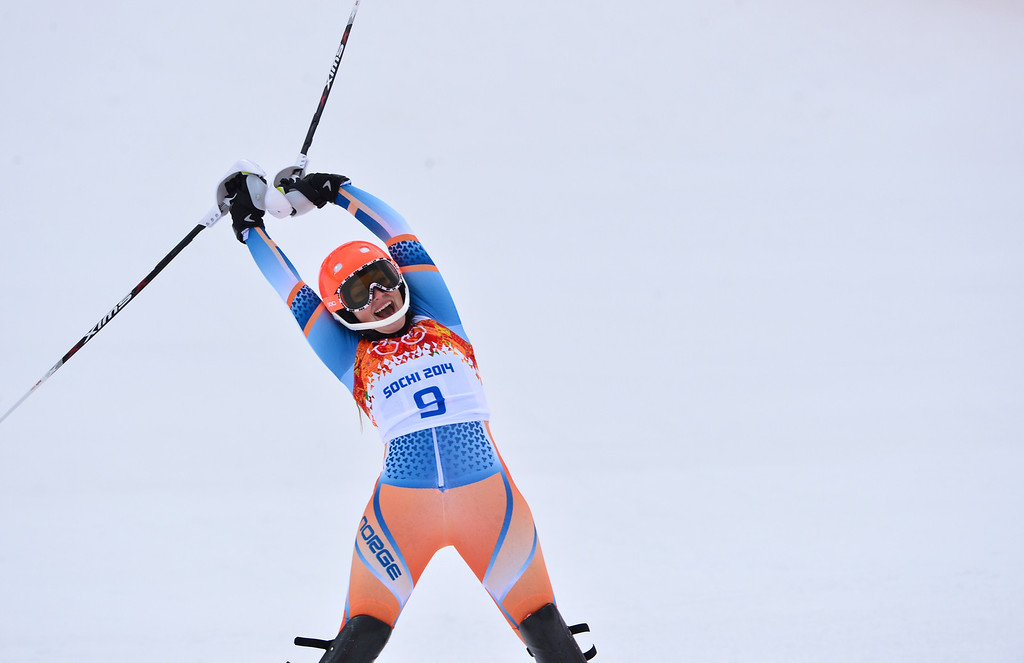 . Norway\'s Ragnhild Mowinckel reacts after the Women\'s Alpine Skiing Super Combined Slalom at the Rosa Khutor Alpine Center during the Sochi Winter Olympics on February 10, 2014.     AFP PHOTO / DIMITAR DILKOFF/AFP/Getty Images