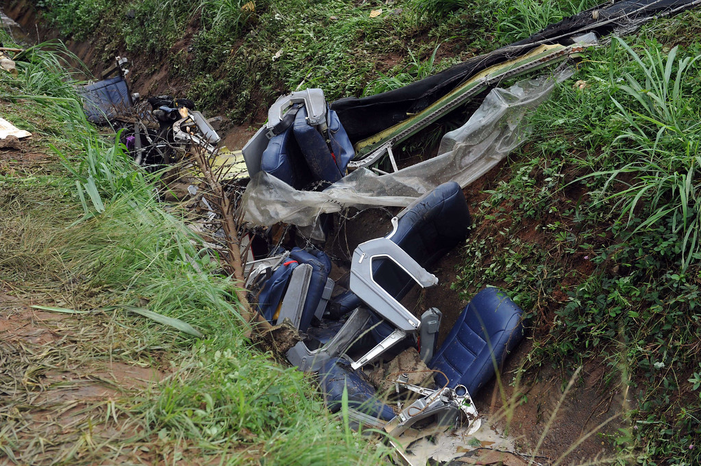 . This picture taken on October 3, 2013 shows passenger seats on the wreckage site of an Associated Airlines plane that crash-landed at Sahara Airport shortly after takeoff in Lagos. AFP PHOTO/ PIUS UTOMI EKPEI /AFP/Getty Images