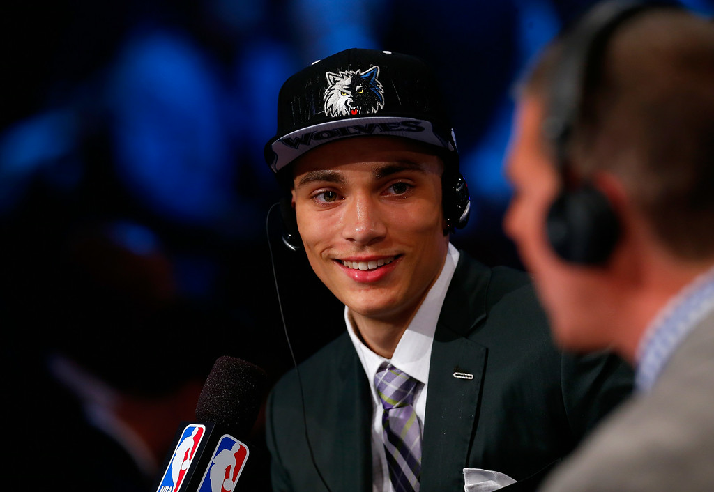 . Zach LaVine of UCLA is interviewed after being drafted with the #13 overall pick by the Minnesota Timberwolves during the 2014 NBA Draft at Barclays Center on June 26, 2014 in the Brooklyn borough of New York City.   (Photo by Mike Stobe/Getty Images)