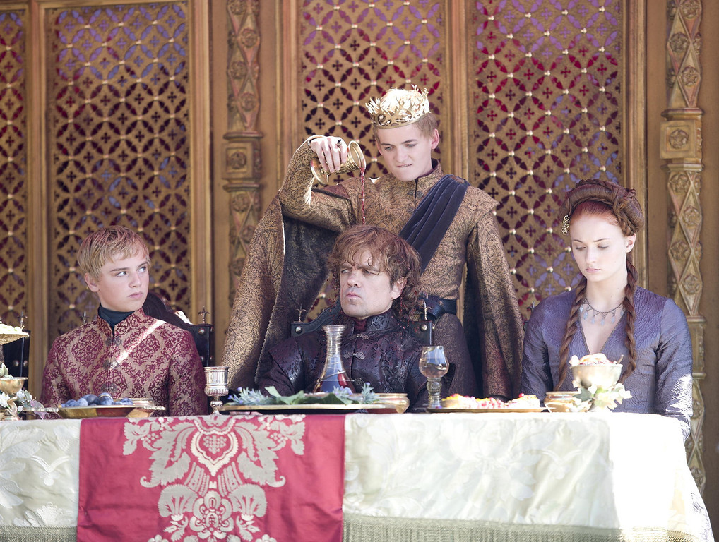 . Dean-Charles Chapman, Peter Dinklage, Jack Gleeson and Sophie Turner.  Photo by Macall B. Polay/HBO