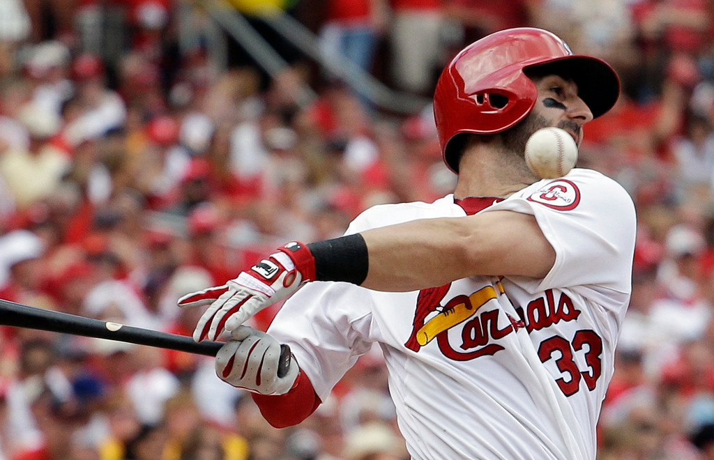 . St. Louis Cardinals\' Daniel Descalso fouls off a pitch in the seventh inning against the Pittsburgh Pirates in Game 2 of baseball\'s National League division series on Friday, Oct. 4, 2013, in St. Louis. The Pirates won 7-1.  (AP Photo/Jeff Roberson)