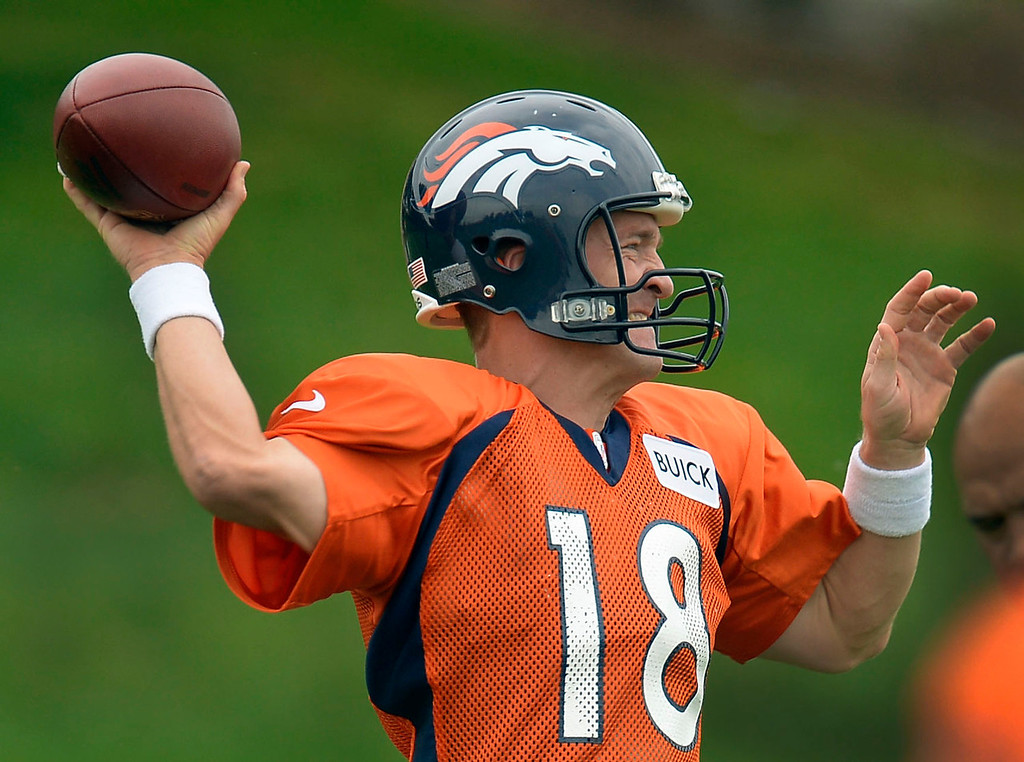 . Denver Broncos quarterback Peyton Manning (18) throws a pass down field during practice September 1, 2013 at Dove Valley. (Photo by John Leyba/The Denver Post)