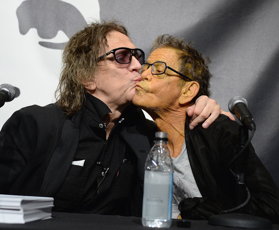 . Mick Rock and Lou Reed (R) attend John Varvatos Presents Transformer By Lou Reed And Mick Rock on October 3, 2013 in New York City.  (Photo by Theo Wargo/Getty Images for John Varvatos)