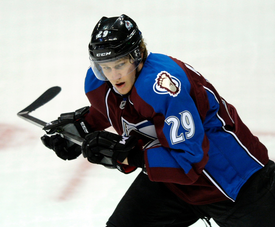 . DENVER, CO. - OCTOBER 02: Avalanche rookie Nathan MacKinnon skated in his first regular-season game Wednesday night in the first period. The Colorado Avalanche hosted the Anaheim Ducks at the Pepsi Center Wednesday night, October 2, 2013. Photo By Karl Gehring/The Denver Post