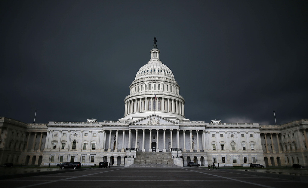 . Storm clouds fill the sky over the U.S. Capitol Building, June 13, 2013 in Washington, DC.   (Photo by Mark Wilson/Getty Images)