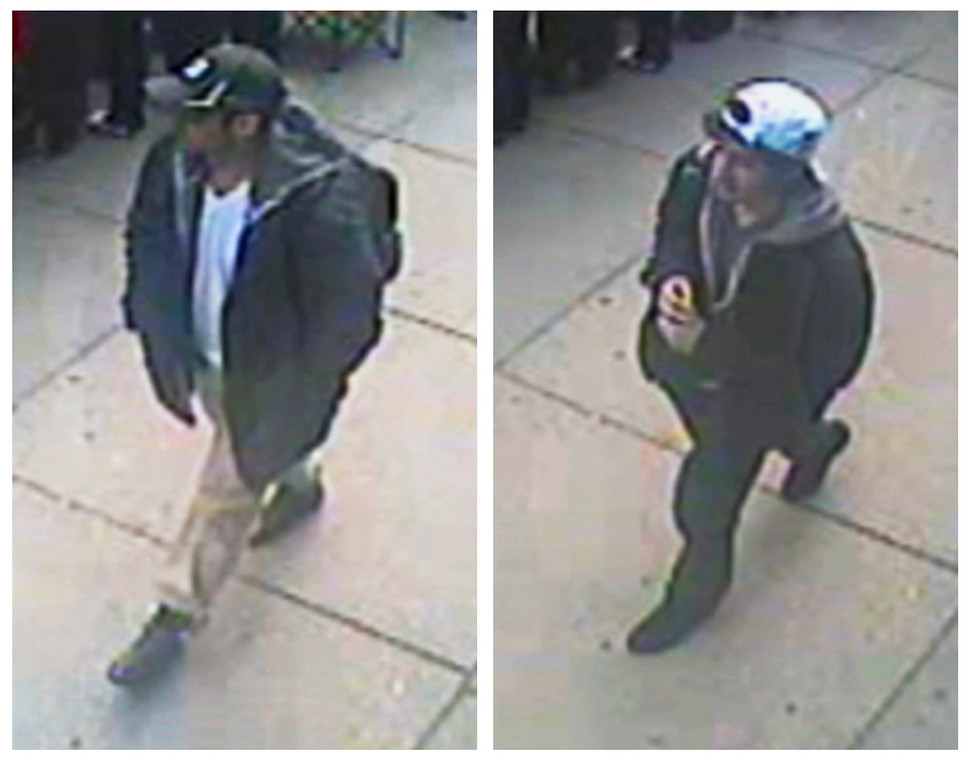 . Suspects wanted for questioning in relation to the Boston Marathon bombing April 15 are seen in handout photos presented during an FBI news conference in Boston, April 18, 2013.  REUTERS/FBI/Handout