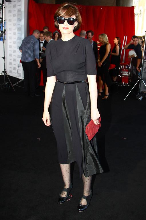 . Sarah Blasko arrives for the Australian music industry Aria Awards in Sydney, Thursday, Nov. 29, 2012. (AP Photo/Rick Rycroft)