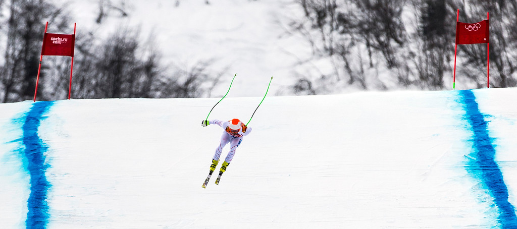. KRASNAYA POLYANA, RUSSIA  - JANUARY 9: Steven Nyman, of Salt Lake City, competes in the Men\'s Downhill race at Rosa Khutor Alpine Center during the 2014 Sochi Olympic Games Sunday February 9, 2014. (Photo by Chris Detrick/The Salt Lake Tribune)