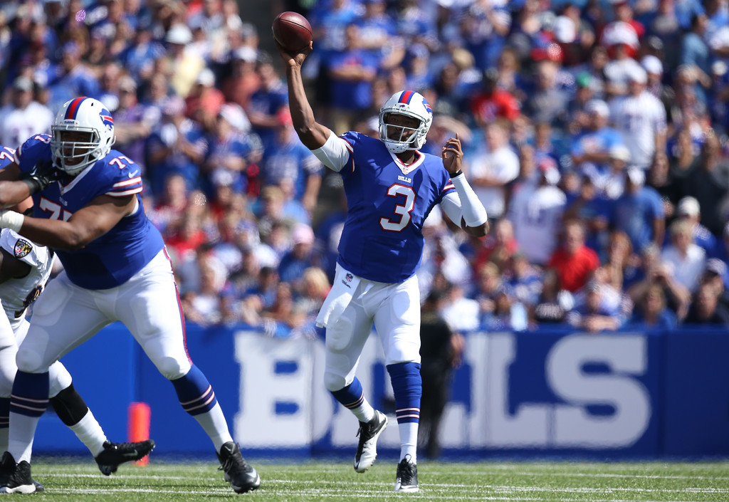 . ORCHARD PARK, NY - SEPTEMBER 29: E.J. Manuel #3 of the Buffalo Bills throws a pass during NFL game action against the Baltimore Orioles at Ralph Wilson Stadium on September 29, 2013 in Orchard Park, New York. (Photo by Tom Szczerbowski/Getty Images)