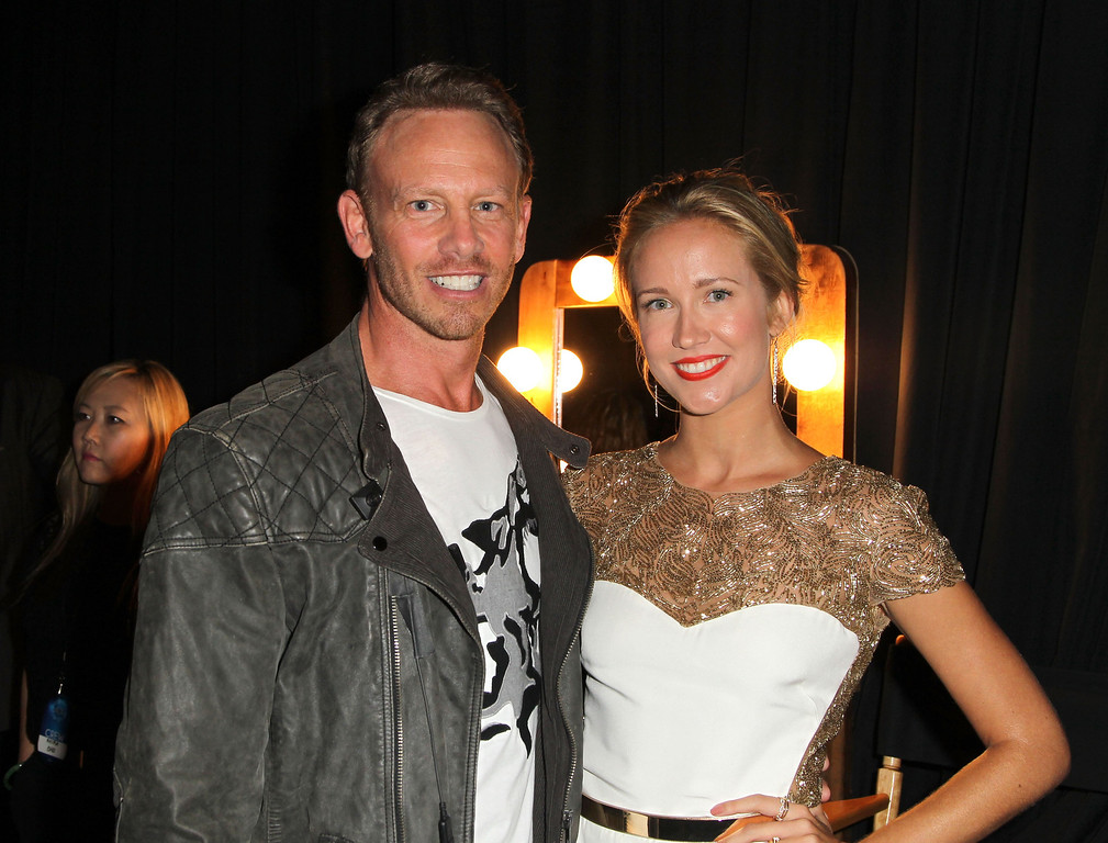 . Actors Ian Ziering (L) and Anna Camp attend CW Network\'s 2013 Young Hollywood Awards presented by Crest 3D White and SodaStream held at The Broad Stage on August 1, 2013 in Santa Monica, California.  (Photo by Jonathan Leibson/Getty Images for PMC)