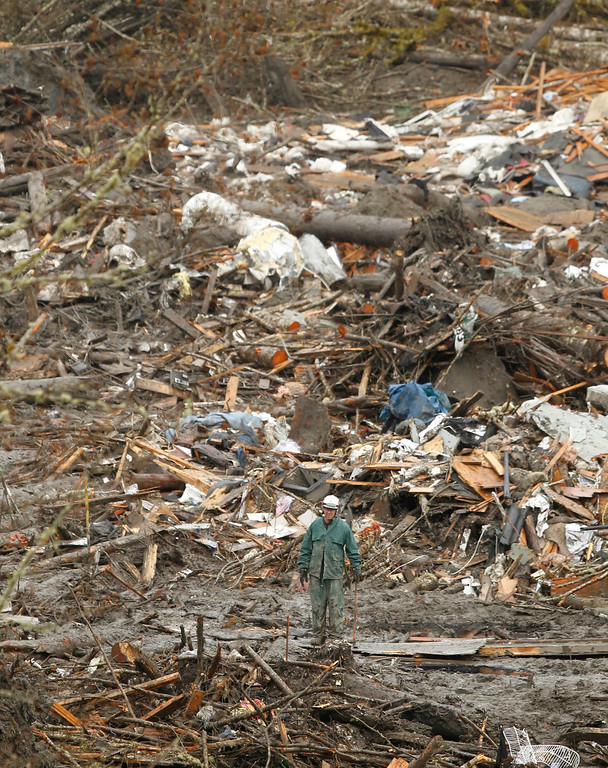 . A searcher walks through the scene of a deadly mudslide, Thursday, March 27, 2014, in Oso, Wash.  (AP Photo/The Herald, Mark Mulligan, Pool)