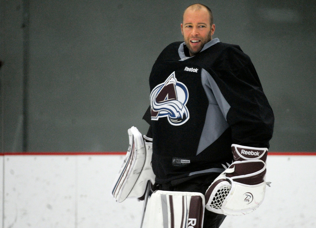 . Colorado Avalanche G J.S. Giguere smiles during practice as the Avalanche return to the ice Sunday, January 13, 2013 at Family Sports Center to start the 2013 training camp.  John Leyba, The Denver Post