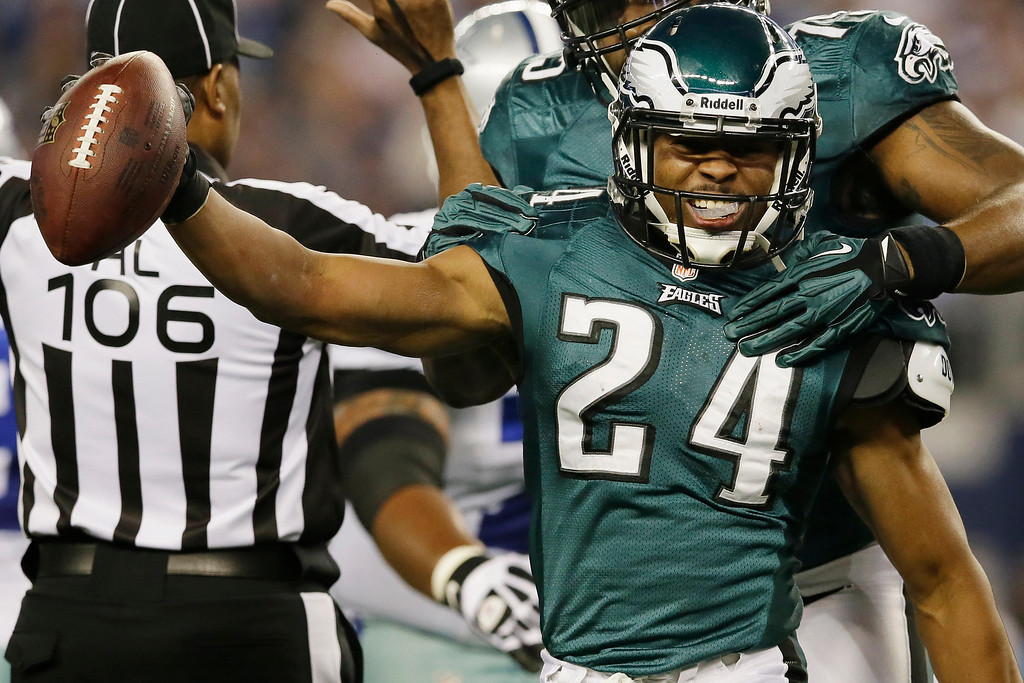 . Philadelphia Eagles cornerback Bradley Fletcher (24) celebrates after recovering a fumble by Dallas Cowboys running back DeMarco Murray during the first half of an NFL football game, Sunday, Dec. 29, 2013, in Arlington, Texas. (AP Photo/Tony Gutierrez)