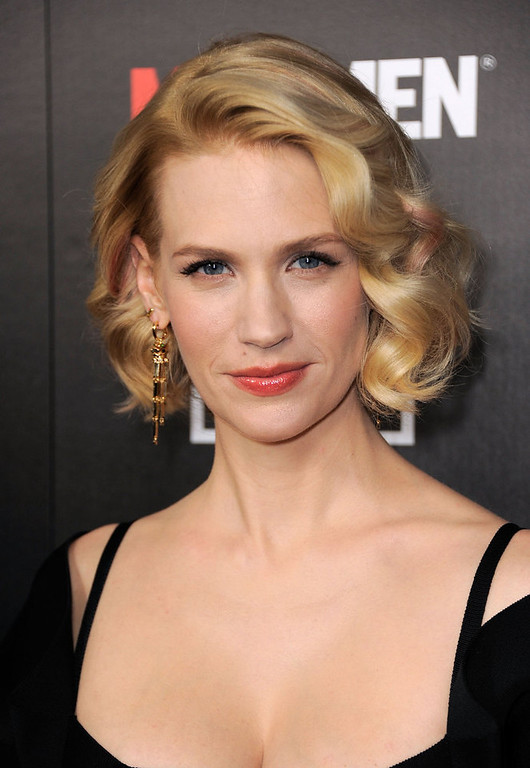 ". Actress January Jones arrives at the Premiere of AMC\'s ""Mad Men\"" Season 5 at ArcLight Cinemas on March 14, 2012 in Hollywood, California.  (Photo by Frazer Harrison/Getty Images)"