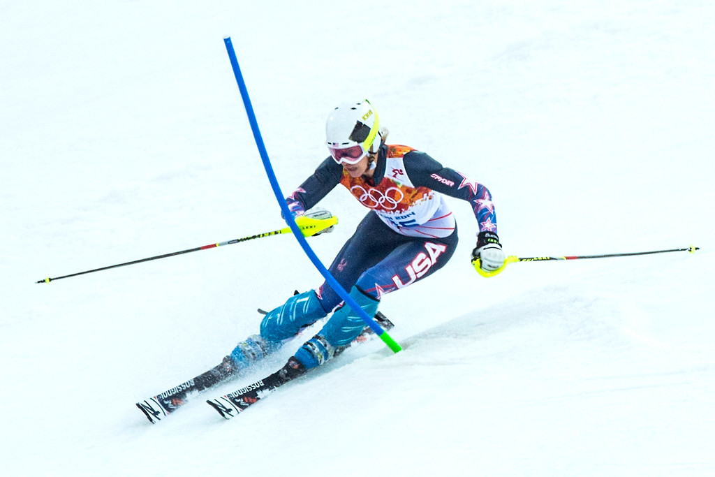 . Resi Stiegler competes in run 1 of the women\'s slalom competition at Rosa Khutor Alpine Center during the 2014 Sochi Olympics Friday February 21, 2014. Stiegler is currently in 20th place with a time of 56.81. (Photo by Chris Detrick/The Salt Lake Tribune)