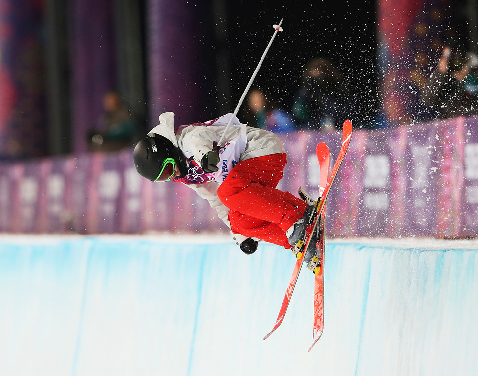 . Switzerland\'s Virginie Faivre gets air during the women\'s ski halfpipe final at the Rosa Khutor Extreme Park, at the 2014 Winter Olympics, Thursday, Feb. 20, 2014, in Krasnaya Polyana, Russia. (AP Photo/Sergei Grits)