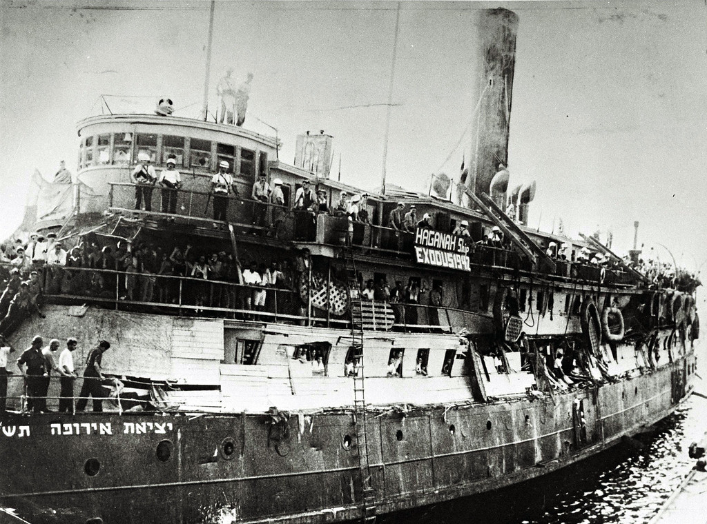 . HAIFA, MANDATE PALESTINE - JULY 18, 1947: The crowded illegal immigration ship Exodus, carrying Jewish refugees from war-torn Europe, July 18, 1947 in Haifa port, during the British Mandate of Palestine, in what would in the next year become the State of Israel. (Photo by Frank Shershel/GPO via Getty Images)