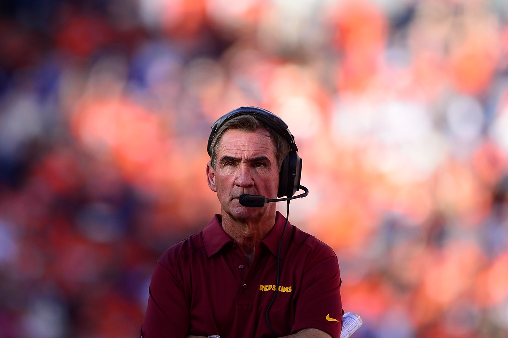 . Washington Redskins head coach, and former Broncos head coach, Mike Shanahan watches from the sidelines in the third quarter.  (Photo by AAron Ontiveroz/The Denver Post)