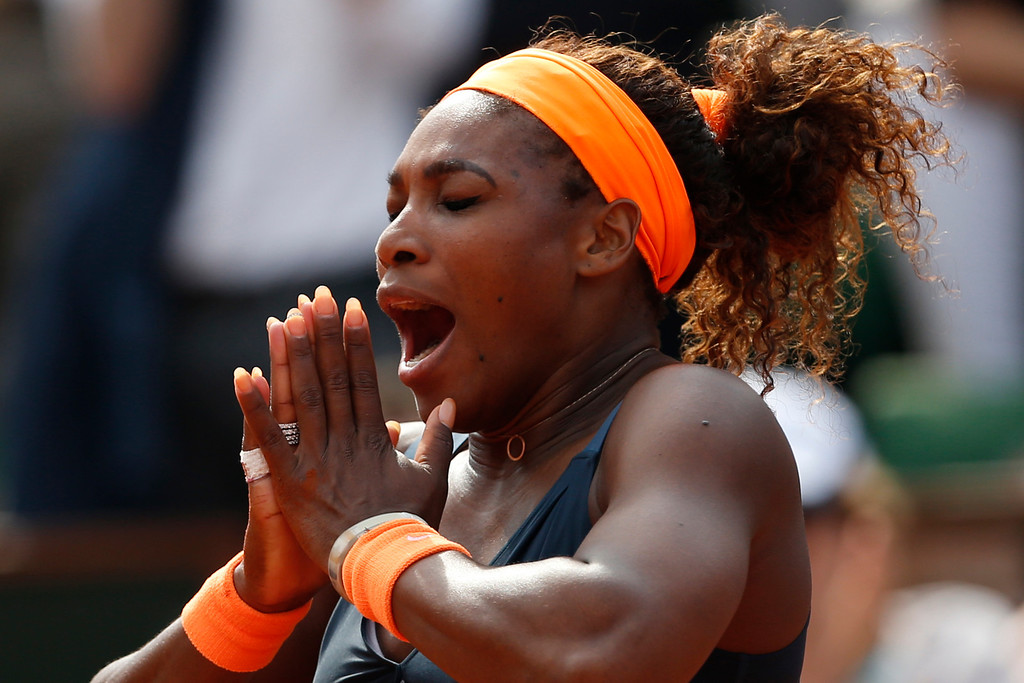 . Serena Williams of the U.S. celebrates winning against Russia\'s Maria Sharapova in two sets 6-4, 6-4, in the women\'s final of the French Open tennis tournament, at Roland Garros stadium in Paris, Saturday June 8, 2013. (AP Photo/Petr David Josek)